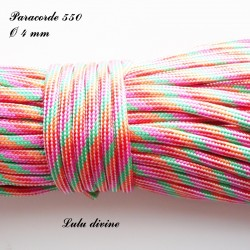 Paracorde 4 mm : Orange Rouge Rose Vert