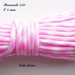 Paracorde 4 mm : Rose clair Blanc