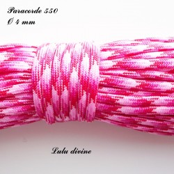 Paracorde 4 mm : Rose clair Fuchsia Rouge