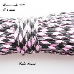 Paracorde 4 mm : Rose clair Noir