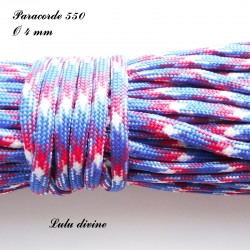 Paracorde 4 mm : Rouge Bleu Blanc