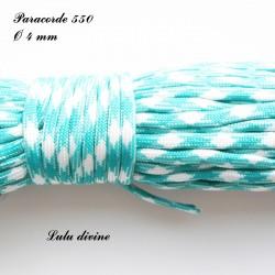 Paracorde 4 mm : Turquoise Blanc