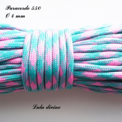 Paracorde 4 mm : Turquoise Rose clair