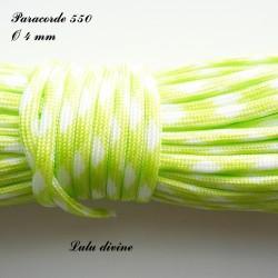 Paracorde 4 mm : Vert fluo Blanc