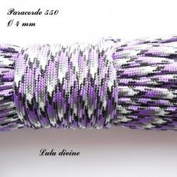 Paracorde 4 mm : Violet Blanc Noir
