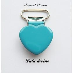 Pince cœur turquoise