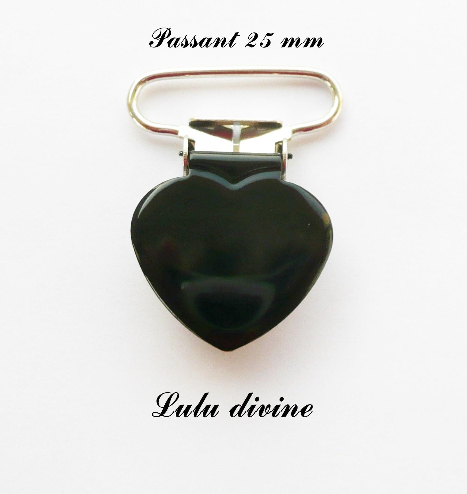 Clip coeur passant de 25 mm : Noir Attache tétine doudou Pince coeur