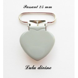 Pince coeur 25 mm Grise