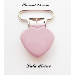 Pince coeur 25 mm Vieux rose