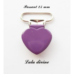 Pince coeur 25 mm Violet