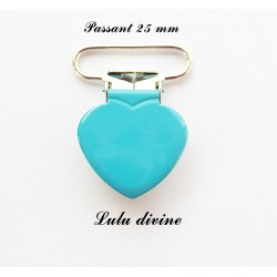 Pince coeur 25 mm Turquoise
