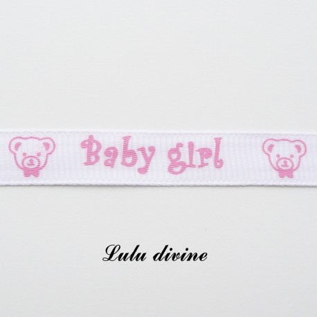 Ruban blanc Baby girl Ourson de 10 mm
