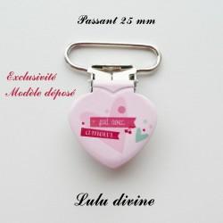 Pince coeur 25 mm : Fait avec amour (rose Cœur)