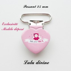 Pince coeur 25 mm : Fait pour moi (rose poupée)