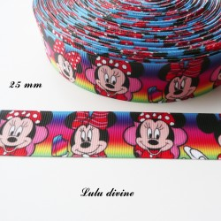 Ruban fond multicolore Minnie mange une sucette de 25 mm
