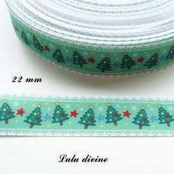 Ruban vert liseré blanc Sapin de noel de 22 mm