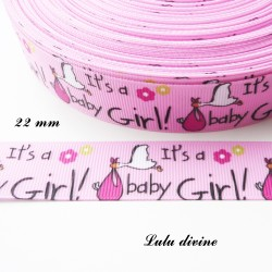 Ruban rose clair It's a girl (C'est une fille) Cigogne de 22 mm