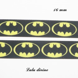 Ruban noir Super héros Logo Batman noir & jaune de 16 mm