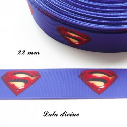 Ruban gros grain bleu Logo Superman de 22 mm