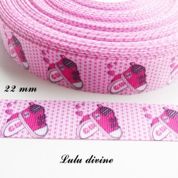 Ruban rose à petit pois Girl (fille) Chausson Chaussure de 22 mm