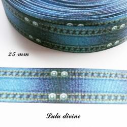 Ruban bleu effet jean's surpiqûres de 25 mm
