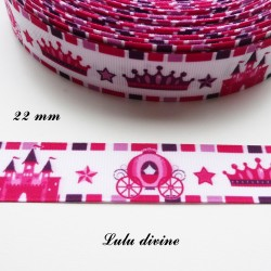 Ruban blanc liseré rose & violet Couronne Château Carrosse de 22 mm