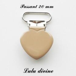Pince coeur 20 mm Beige
