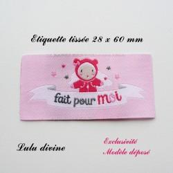 Étiquette tissée : Fait pour moi (rose poupée)