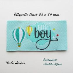 Étiquette tissée : Little boy (bleue montgolfière)
