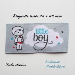 Étiquette tissée : Little boy (grise Nuage Petit garçon)