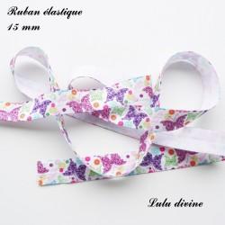 Ruban élastique blanc Papillon Rose Vert Violet de 15 mm