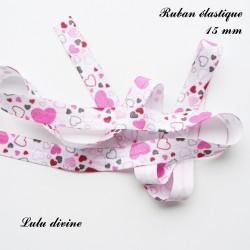Ruban élastique blanc Coeur fuchsia noir rose clair de 15 mm