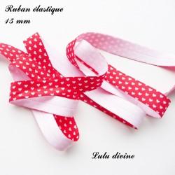 Ruban élastique rouge Petit coeur blanc de 15 mm
