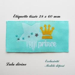 Étiquette tissée : Petit prince (turquoise Couronne)