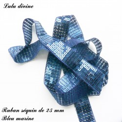 Ruban séquin 25 mm Bleu marine