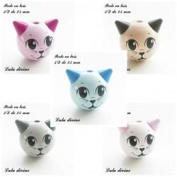 Perle en bois 3D Tête de chat