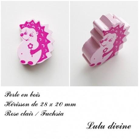 Rose Perle plate Hérisson Blanc Perle en bois de 28 x 20 mm