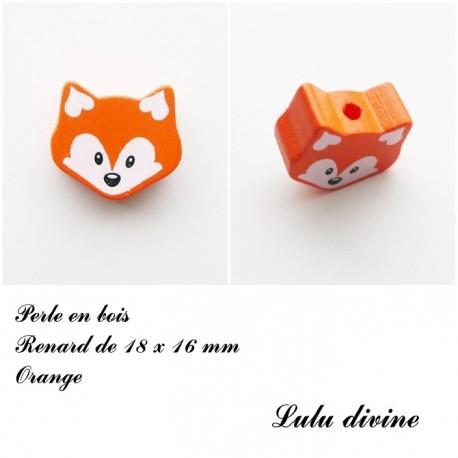 Perle en bois petite Tête de renard :