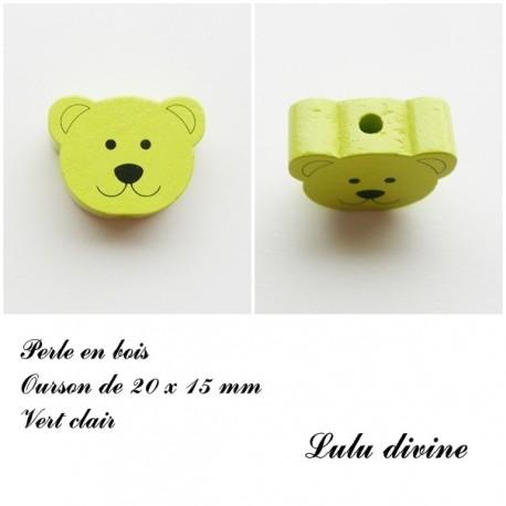 Perle en bois Tête d'ourson