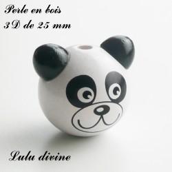 Perle en bois 3D Tête de panda : Blanc