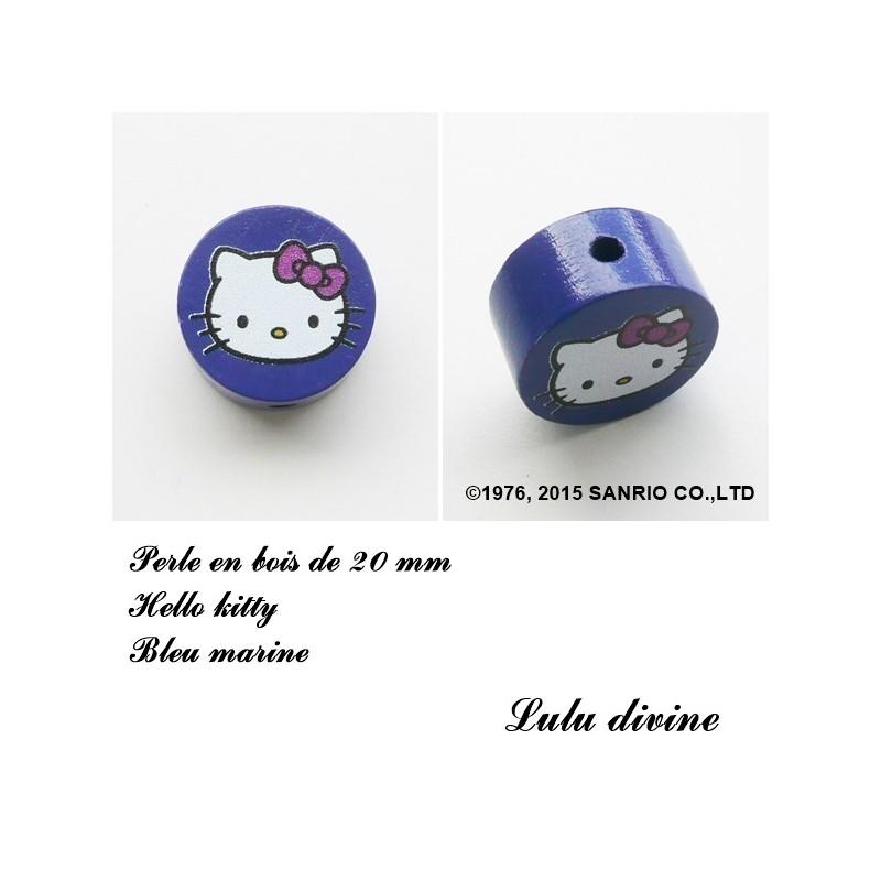 Hello kitty Parme Perle plate Perle en bois de 20 mm