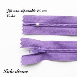 Fermeture éclair simple non séparable de 25 cm : Violet