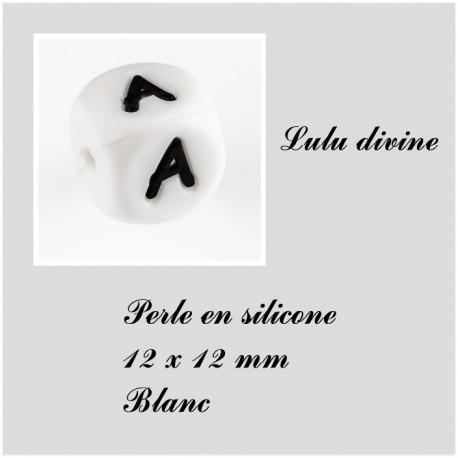Perle en silicone 12 x 12 mm Blanc