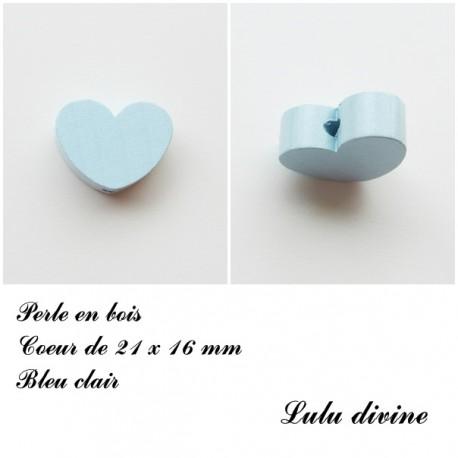 Perle en bois Coeur 21 x 16 mm