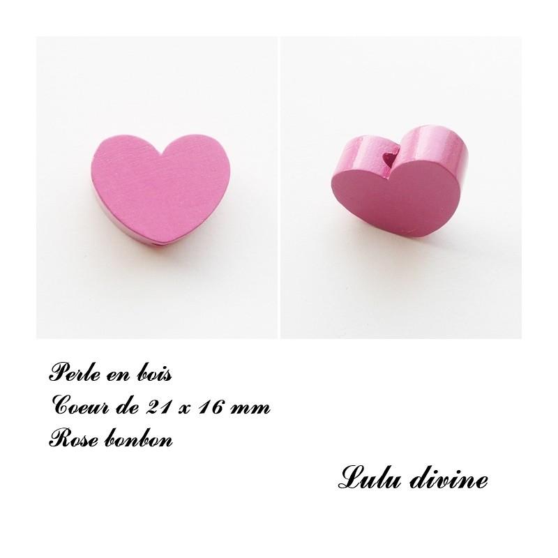 Rouge Perle en bois de 21 x 16 mm Perle plate Coeur