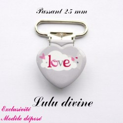 Pince coeur 25 mm : Love (grise Nuage)