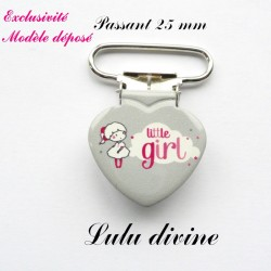 Pince coeur 25 mm : Little girl (grise Nuage Petite fille)