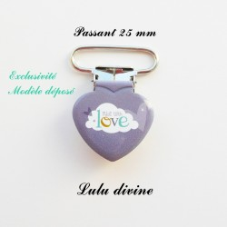 Pince coeur 25 mm : Made with love (grise Nuage)