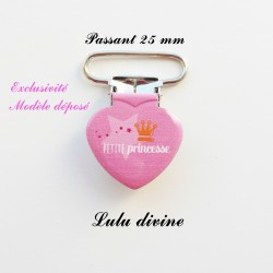 Pince coeur 25 mm : Petite princesse (rose Couronne)