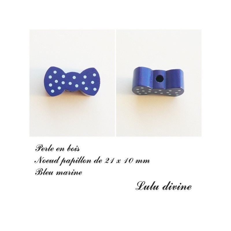 Bleu moyen Perle plate Noeud papillon Perle en bois de 21 x 10 mm